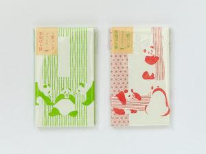 『上野パンダファミリー 笑福ぽち袋』(グリーン/ピンク) 各 税込330円